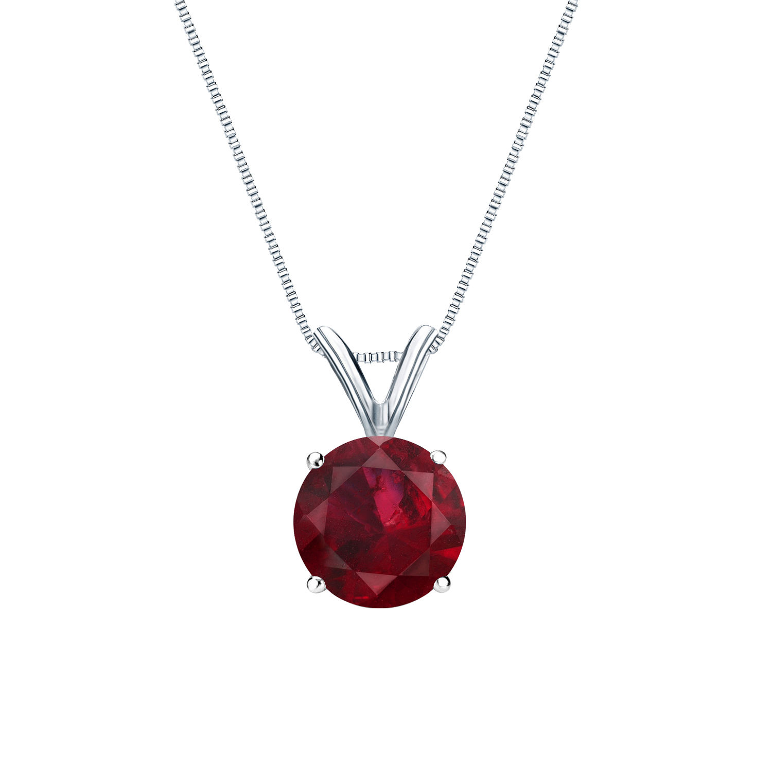 Certified 0.20 ct. tw. Round Ruby Gemstone Solitaire Pendant in 14k White Gold 4-Prong Basket (Red, AAA)