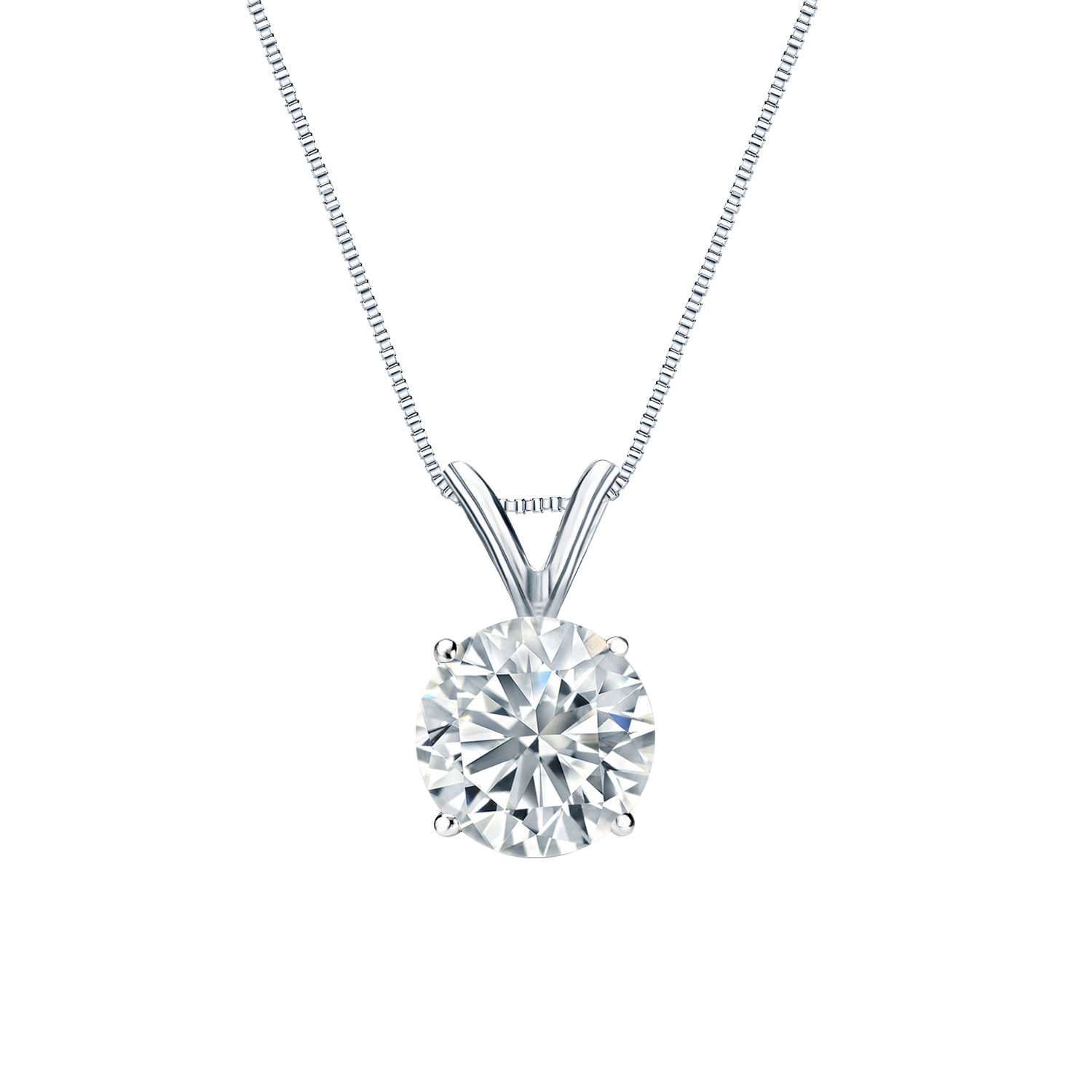 Certified 1.00 ct. tw. Round Diamond Solitaire Pendant in 14k White Gold 4-Prong Basket (I-J, I1)