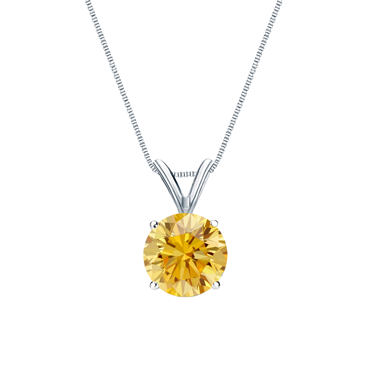 Certified 0.50 ct. tw. Round Yellow Diamond Solitaire Pendant in 14k White Gold 4-Prong Basket (Yellow, SI1-SI2)