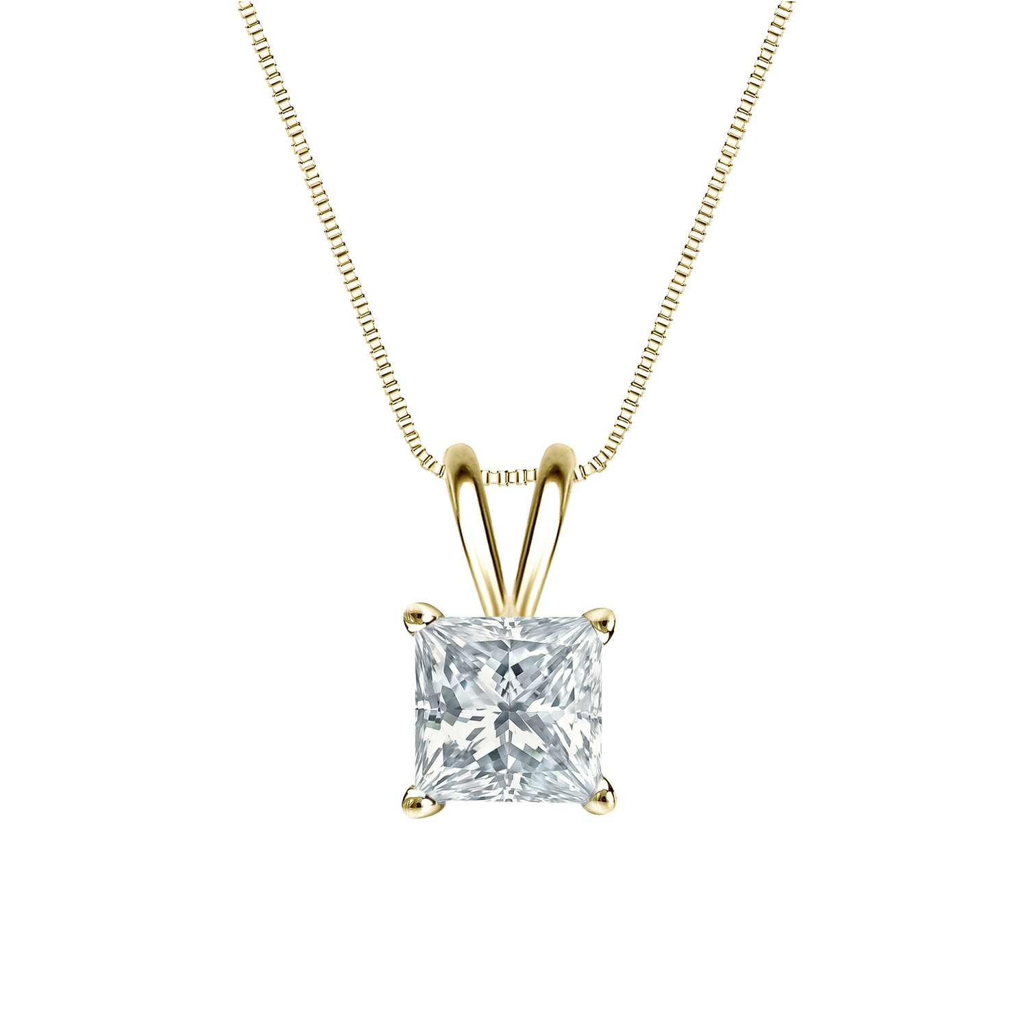 Certified 0.25 ct. tw. Princess Diamond Solitaire Pendant in 14k Yellow Gold 4-Prong Basket (G-H, SI)