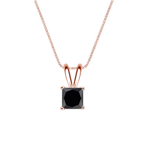 Certified 0.50 ct. tw. Princess Black Diamond Solitaire Pendant in 14k Rose Gold 4-Prong Basket (AAA)