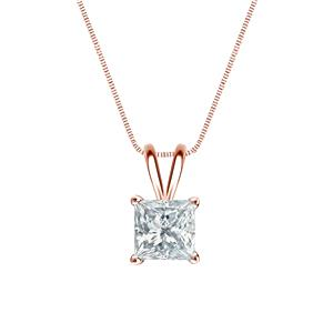 Certified 0.20 ct. tw. Princess Diamond Solitaire Pendant in 14k Rose Gold 4-Prong Basket (G-H, SI)