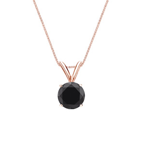 Certified 0.50 ct. tw. Round Black Diamond Solitaire Pendant in 14k Rose Gold 4-Prong Basket (AAA)