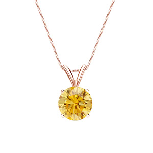 Certified 0.13 ct. tw. Round Yellow Diamond Solitaire Pendant in 14k Rose Gold 4-Prong Basket (Yellow, SI1-SI2)