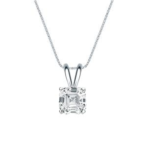 Certified 0.50 ct. tw. Asscher Diamond Solitaire Pendant in 18k White Gold 4-Prong Basket (G-H, SI)