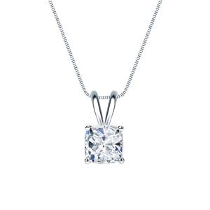 Certified 0.50 ct. tw. Cushion Diamond Solitaire Pendant in 14k White Gold 4-Prong Basket (G-H, SI)