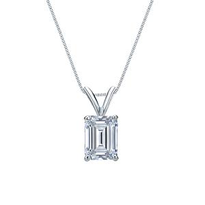 Certified 0.25 ct. tw. Emerald Diamond Solitaire Pendant in 14k White Gold 4-Prong Basket (G-H, SI)