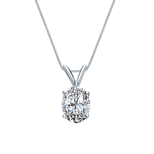Certified 0.50 ct. tw. Oval Diamond Solitaire Pendant in 14k White Gold 4-Prong Basket (G-H, SI)