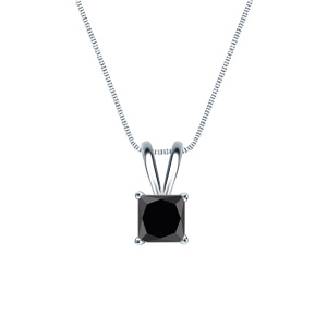 Certified 14k White Gold 4-Prong Basket Princess Black Diamond Solitaire Pendant 0.25 ct. tw. (AAA)