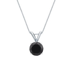 Certified 14k White Gold 4-Prong Basket Round Black Diamond Solitaire Pendant 0.25 ct. tw. (AAA)