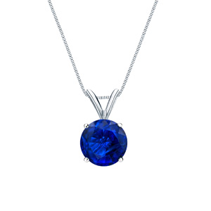 Certified 14k White Gold 4-Prong Basket Round Blue Sapphire Gemstone Solitaire Pendant 0.20 ct. tw. (Blue, AAA)