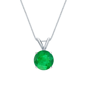 Certified 0.20 ct. tw. Round Green Emerald Gemstone Solitaire Pendant in 14k White Gold 4-Prong Basket (Green, AAA)