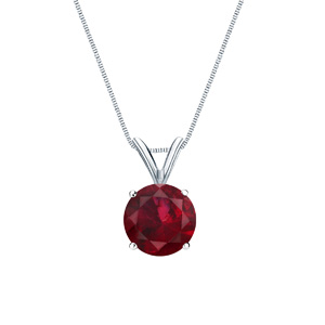 Certified 14k White Gold 4-Prong Basket Round Ruby Gemstone Solitaire Pendant 0.20 ct. tw. (Red, AAA)
