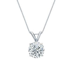 Certified 14k White Gold 4-Prong Basket Round Diamond Solitaire Pendant 0.20 ct. tw. (I-J, I1)