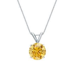 Certified 14k White Gold 4-Prong Basket Round Yellow Diamond Solitaire Pendant 0.13 ct. tw. (Yellow, SI1-SI2)