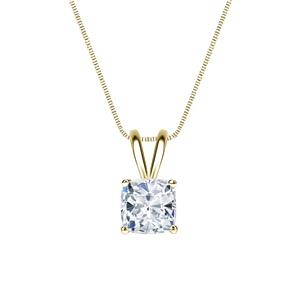 Certified 0.75 ct. tw. Cushion Diamond Solitaire Pendant in 14k Yellow Gold 4-Prong Basket  (I-J, I1)