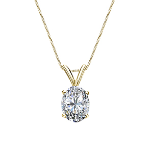 Certified 0.75 ct. tw. Oval Diamond Solitaire Pendant in 18k Yellow Gold 4-Prong Basket (G-H, SI)
