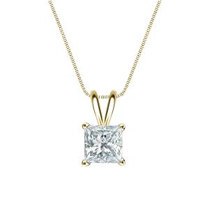 Certified 0.38 ct. tw. Princess Diamond Solitaire Pendant in 14k Yellow Gold 4-Prong Basket (G-H, SI)
