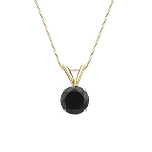 Certified 1.00 ct. tw. Round Black Diamond Solitaire Pendant in 14k Yellow Gold 4-Prong Basket (AAA)