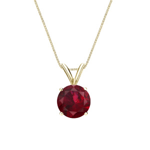 Certified 0.20 ct. tw. Round Ruby Gemstone Solitaire Pendant in 14k Yellow Gold 4-Prong Basket (Red, AAA)