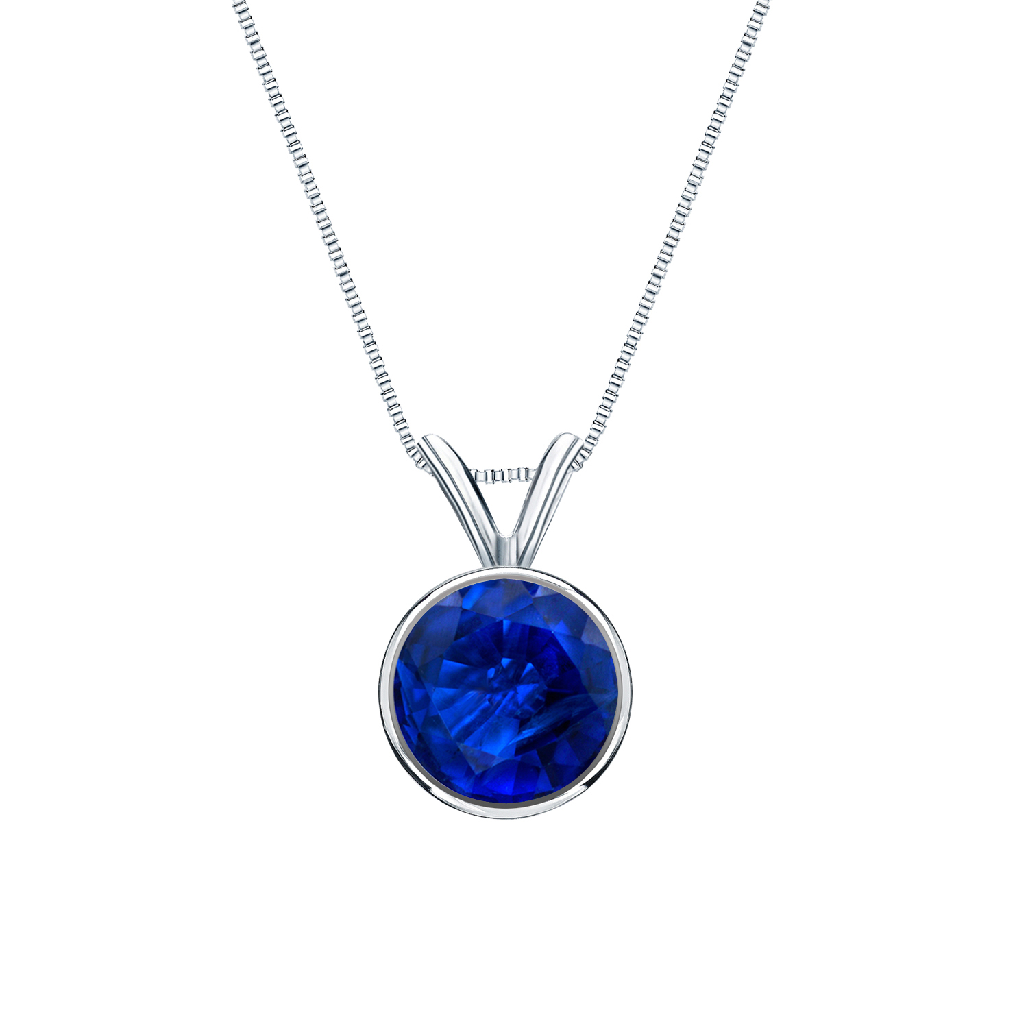 Certified 0.50 ct. tw. Round Blue Sapphire Gemstone Solitaire Pendant in 14k White Gold Bezel (Blue, AAA)