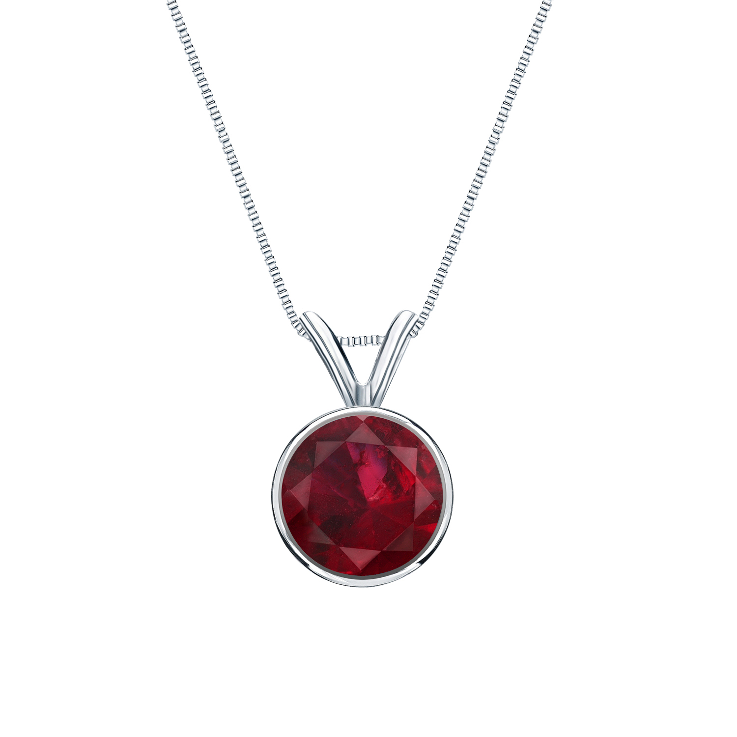 Certified 0.20 ct. tw. Round Ruby Gemstone Solitaire Pendant in 14k White Gold Bezel (Red, AAA)