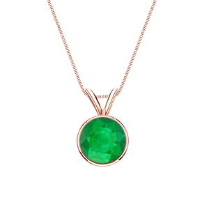 Certified 0.20 ct. tw. Round Green Emerald Gemstone Solitaire Pendant in 14k Rose Gold Bezel (Green, AAA)