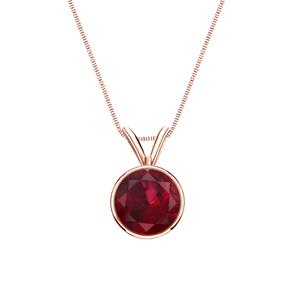 Certified 0.20 ct. tw. Round Ruby Gemstone Solitaire Pendant in 14k Rose Gold Bezel (Red, AAA)
