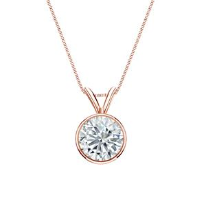 Certified 0.50 ct. tw. Round Diamond Solitaire Pendant in 14k Rose Gold Bezel (I-J, I1)