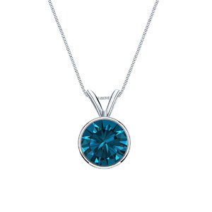 Certified 14k White Gold Bezel Round Blue Diamond Solitaire Pendant 0.13 ct. tw. (Blue, I1-I2)