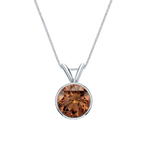 Certified 14k White Gold Bezel Round Brown Diamond Solitaire Pendant 0.13 ct. tw. (Brown, SI1-SI2)