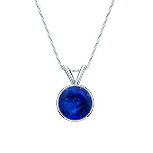 Certified 14k White Gold Bezel Round Blue Sapphire Gemstone Solitaire Pendant 0.20 ct. tw. (Blue, AAA)