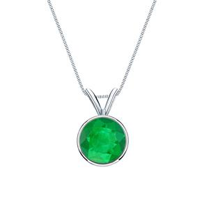 Certified 14k White Gold Bezel Round Green Emerald Gemstone Solitaire Pendant 0.20 ct. tw. (Green, AAA)