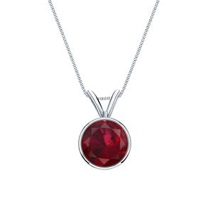 Certified 14k White Gold Bezel Round Ruby Gemstone Solitaire Pendant 0.20 ct. tw. (Red, AAA)