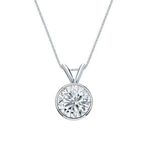 Certified 1.00 ct. tw. Round Diamond Solitaire Pendant in 14k White Gold Bezel (I-J, I1)