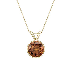 Certified 0.17 ct. tw. Round Brown Diamond Solitaire Pendant in 14k Yellow Gold Bezel (Brown, SI1-SI2)