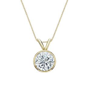 Certified 0.20 ct. tw. Round Diamond Solitaire Pendant in 18k Yellow Gold Bezel (I-J, I1)