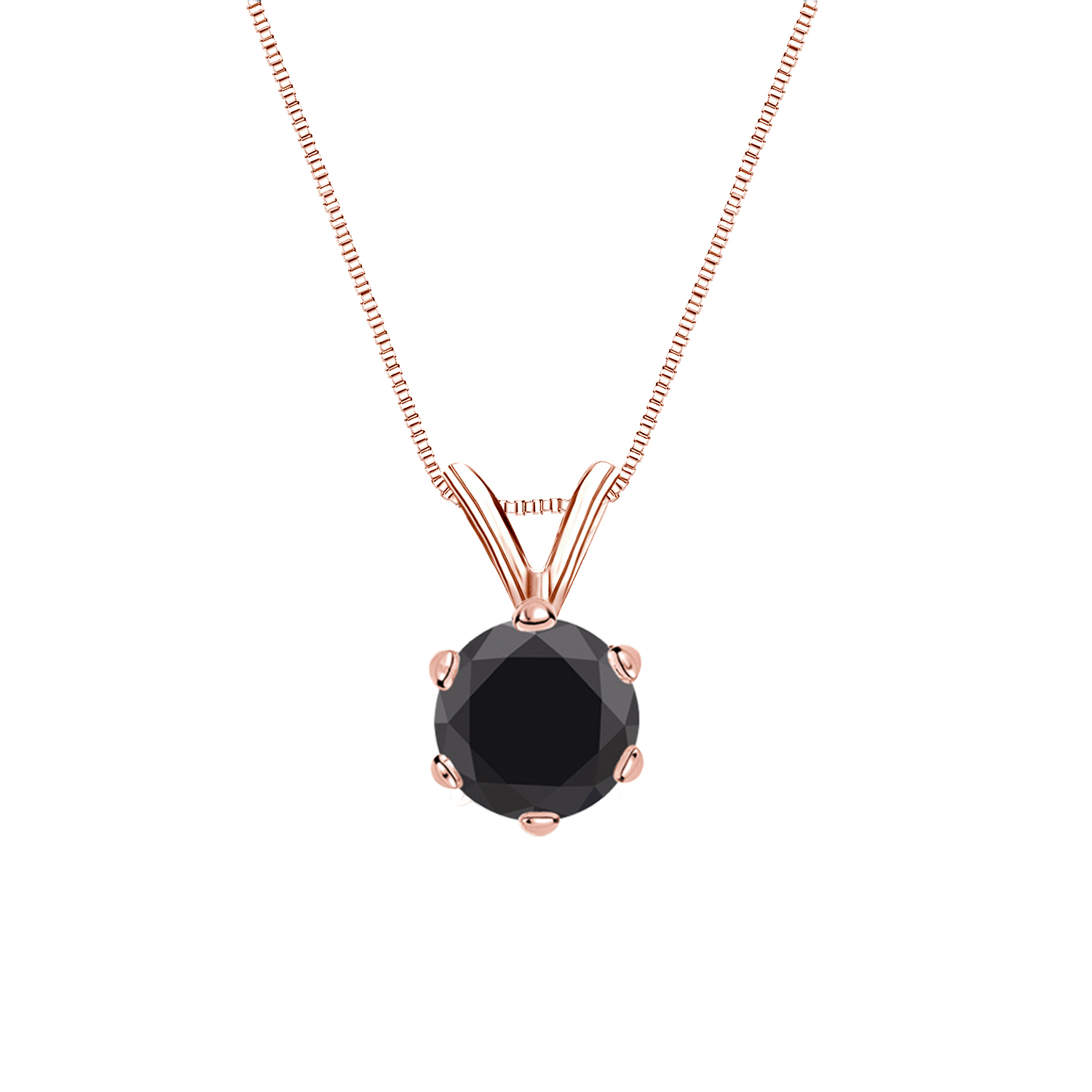 Certified 0.50 ct. tw. Round Black Diamond Solitaire Pendant in 14k Rose Gold 6-Prong (AAA)