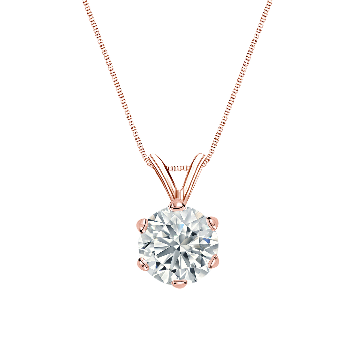 Certified 0.88 ct. tw. Round Diamond Solitaire Pendant in 14k Rose Gold 6-Prong (I-J, I1)