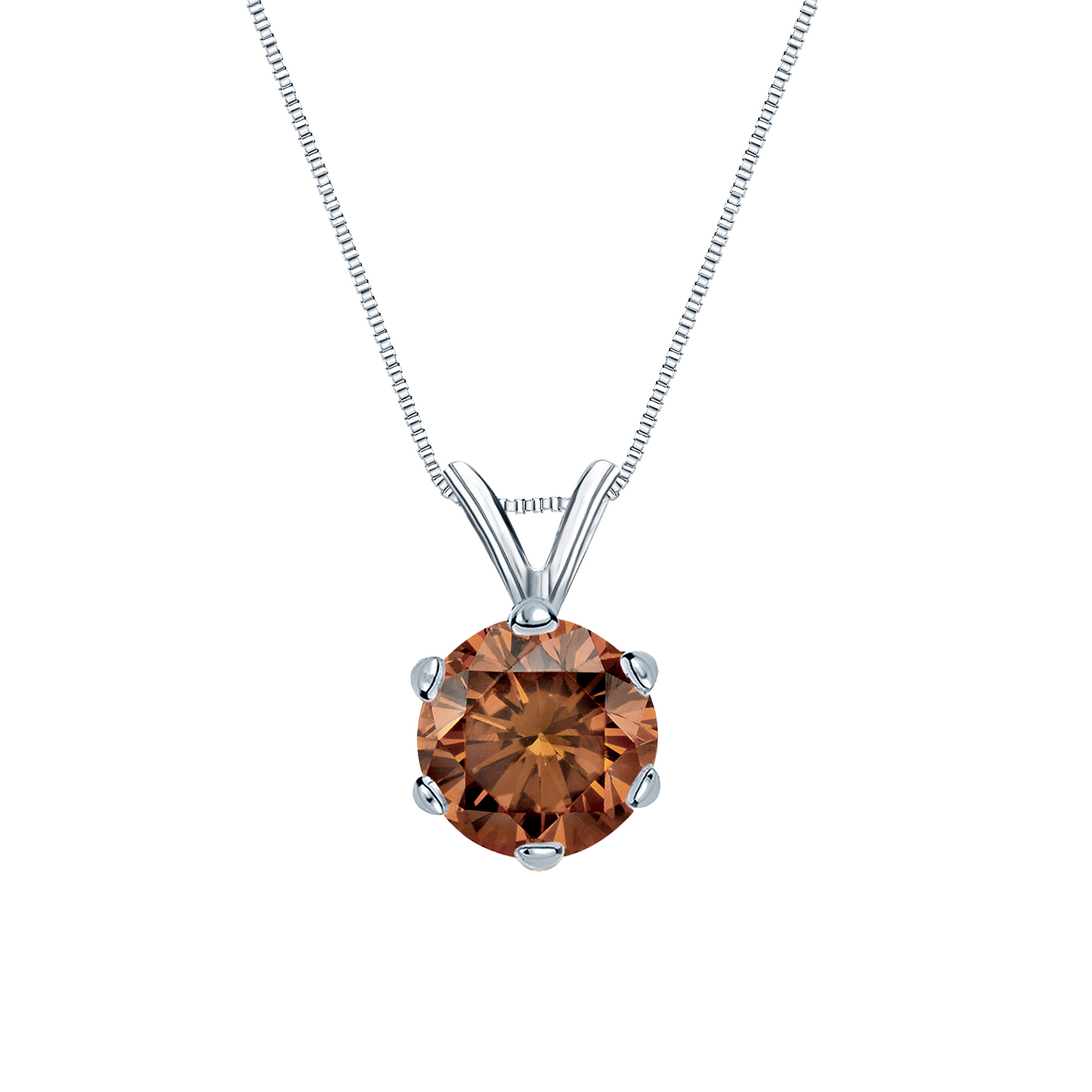 Certified 0.13 ct. tw. Round Brown Diamond Solitaire Pendant in 14k White Gold 6-Prong (Brown, SI1-SI2)