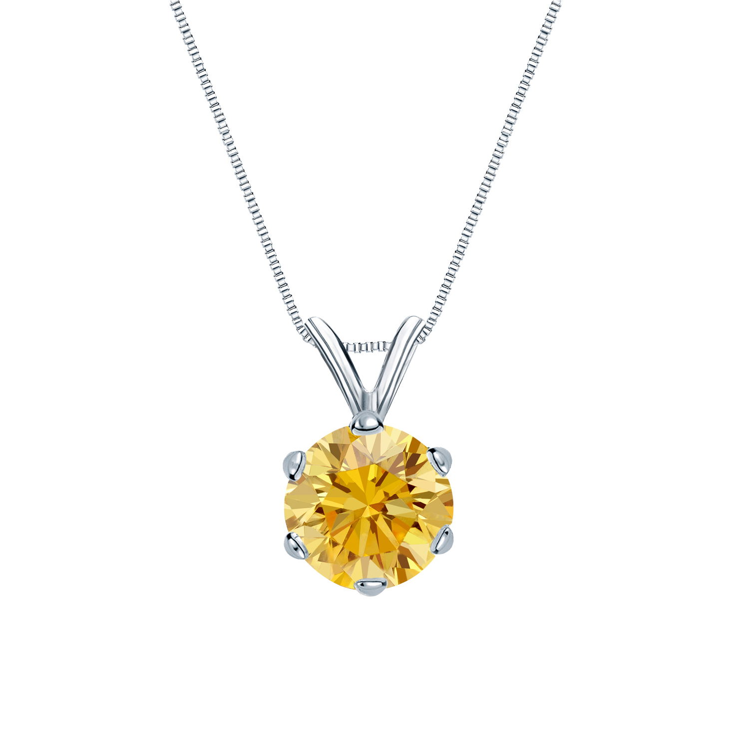 Certified 0.75 ct. tw. Round Yellow Diamond Solitaire Pendant in 18k White Gold 6-Prong (Yellow, SI1-SI2)