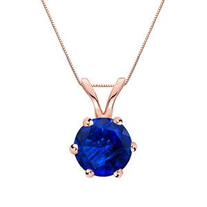 Certified 0.50 ct. tw. Round Blue Sapphire Gemstone Solitaire Pendant in 14k Rose Gold 6-Prong (Blue, AAA)