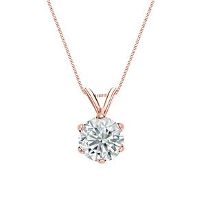 Certified 1.00 ct. tw. Round Diamond Solitaire Pendant in 14k Rose Gold 6-Prong (I-J, I1)