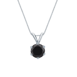 Certified 0.25 ct. tw. Round Black Diamond Solitaire Pendant in 14k White Gold 6-Prong (AAA)