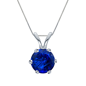 Certified 0.20 ct. tw. Round Blue Sapphire Gemstone Solitaire Pendant in 14k White Gold 6-Prong (Blue, AAA)