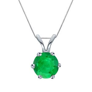 Certified 0.20 ct. tw. Round Green Emerald Gemstone Solitaire Pendant in 14k White Gold 6-Prong (Green, AAA)