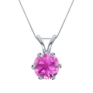 Certified 0.20 ct. tw. Round Pink Sapphire Gemstone Solitaire Pendant in 14k White Gold 6-Prong (Pink, AAA)