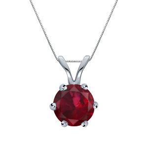 Certified 0.20 ct. tw. Round Ruby Gemstone Solitaire Pendant in Platinum 6-Prong (Red, AAA)