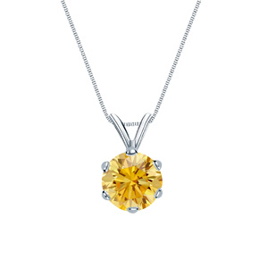 Certified 1.00 ct. tw. Round Yellow Diamond Solitaire Pendant in 18k White Gold 6-Prong (Yellow, SI1-SI2)