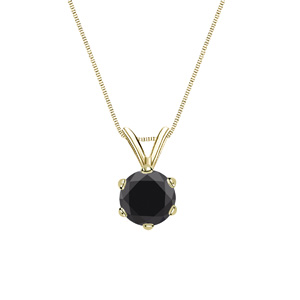 Certified 1.00 ct. tw. Round Black Diamond Solitaire Pendant in 14k Yellow Gold 6-Prong (AAA)